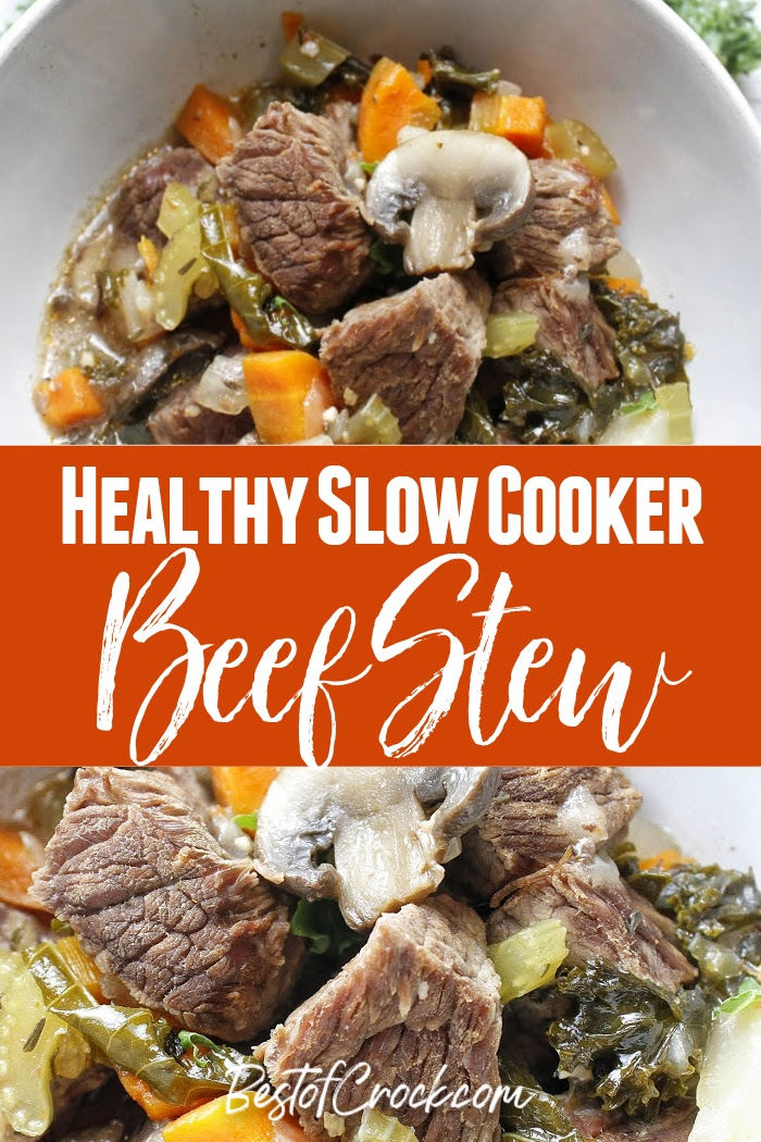 The flavors in this healthy slow cooker beef stew recipe will fill your home with the smells of a delicious home cooked dinner. Beef Stew Crockpot Clean Eating | Beef Stew Crockpot Low Carb | Healthy Crockpot Recipes with Beef | Slow Cooker Recipes with Beef | Healthy Beef Recipe | Beef Crockpot Recipes | Easy Dinner Ideas #slowcooker #beef via @bestofcrock