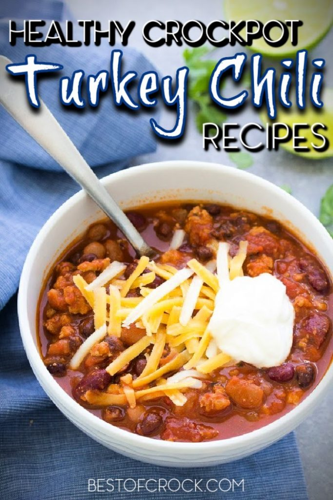 Making healthy chili recipes is easier with these crockpot turkey chili recipes that are filled with flavor and easy to make any night of the week! Crockpot Turkey Chili Healthy | Healthy Crockpot Recipes | Chili Slow Cooker Recipe | Crockpot Recipes with Turkey | Turkey Slow Cooker Recipes | Crockpot Turkey Chili No Beans #chili #crockpot