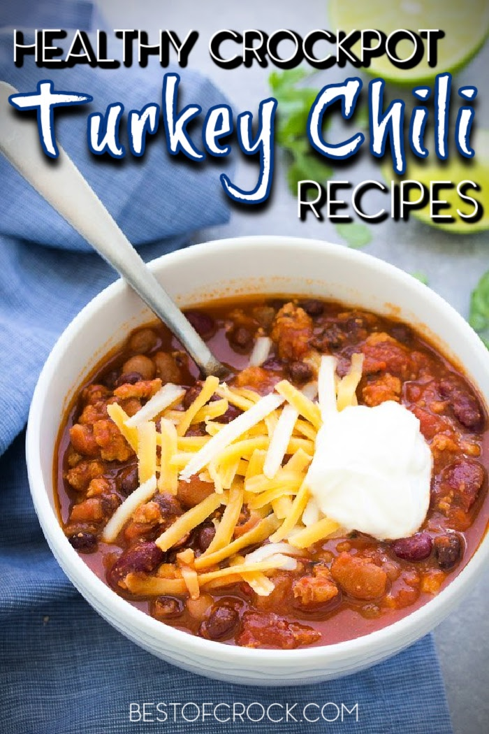 Making healthy chili recipes is easier with these crockpot turkey chili recipes that are filled with flavor and easy to make any night of the week! Crockpot Turkey Chili Healthy | Healthy Crockpot Recipes | Chili Slow Cooker Recipe | Crockpot Recipes with Turkey | Turkey Slow Cooker Recipes | Crockpot Turkey Chili No Beans #chili #crockpot via @bestofcrock