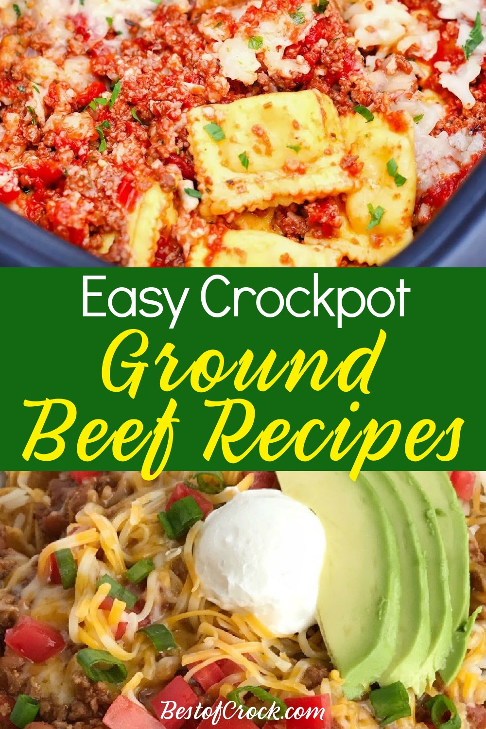 Use crockpot recipes with ground beef to make life easier all week or even month long by setting it and forgetting it. Ground Beef Crockpot Recipes | Crockpot Ground Beef Recipes | Crockpot Beef Recipes | Ground Beef Dinner Recipes | Slow Cooker Dinner Recipes | Slow Cooker Ground Beef Recipes | Slow Cooker Ground Beef Tacos #crockpot #groundbeef via @bestofcrock