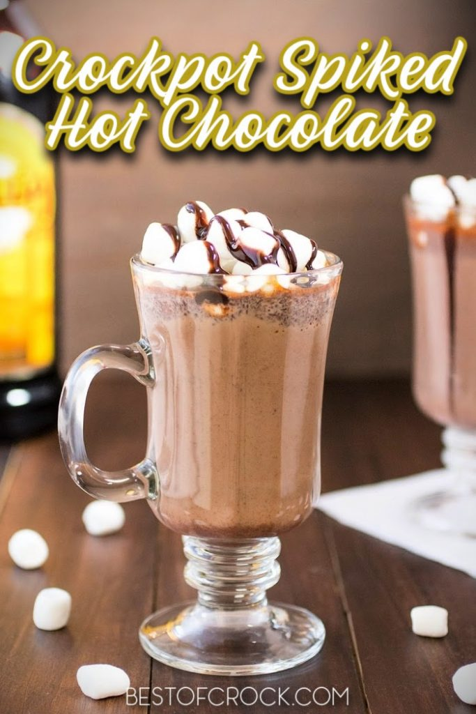 Crockpot spiked hot chocolate recipes help make classic hot chocolate even more enjoyable for adults and more fun to enjoy during holiday gatherings. Spiked peppermint Hot Chocolate Crockpot   Spiked White Hot Chocolate Crockpot   Spiked Hot Chocolate Crockpot Christmas Parties   Hot Chocolate Slow Cooker Cocktail Recipes   Spiked Mexican Hot Chocolate Crockpot #crockpot #hotchocolate