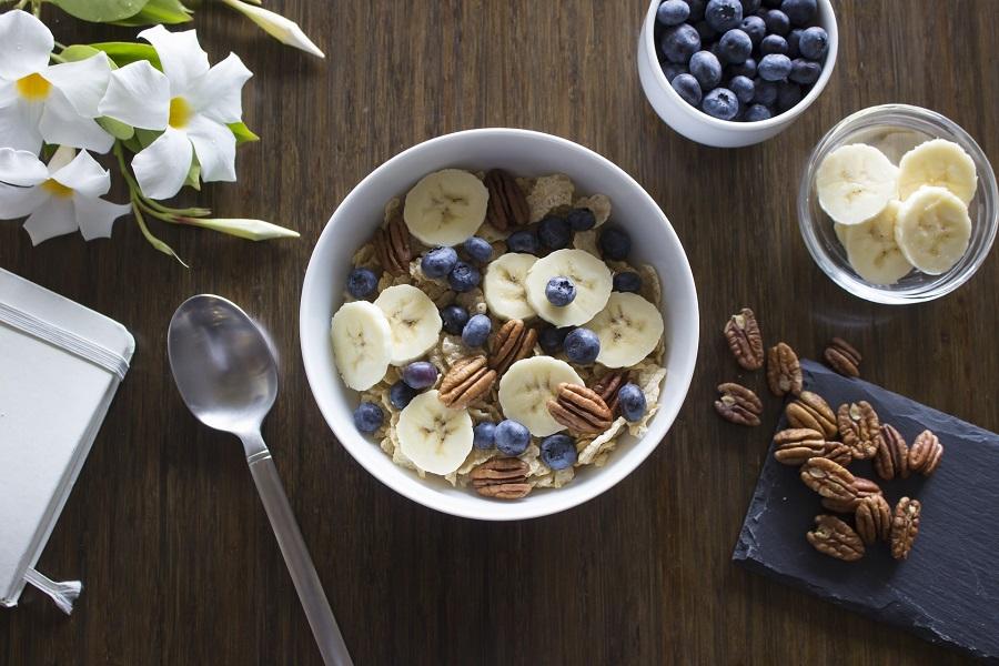 Crockpot Breakfast Ideas Overhead View of a Bowl of Breakfast with Fruit