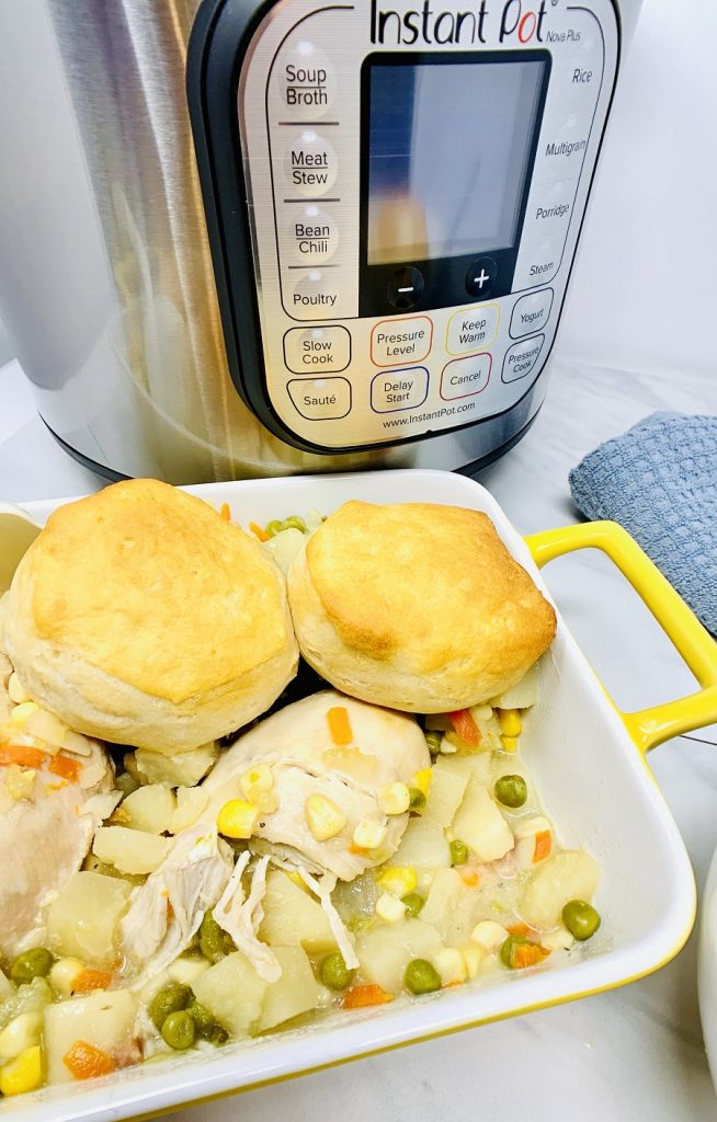 Pressure Cooker Chicken Pot Pie Recipes Dish of Chicken Pot Pie in Front of an Instant Pot