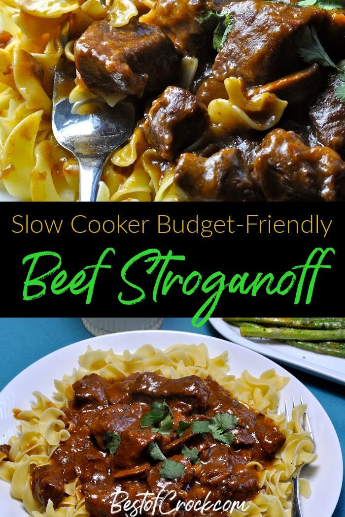 Budget friendly beef stroganoff is an easy crockpot recipe that is not only easy to make but easy on the family budget. Budget Friendly Crockpot Meals | Crockpot Meals Families | Easy Budget Friendly Crockpot Meals | Crockpot Recipes on a Budget | Crockpot Recipes with Beef | Crockpot Pasta Recipes #crockpot #budget via @bestofcrock