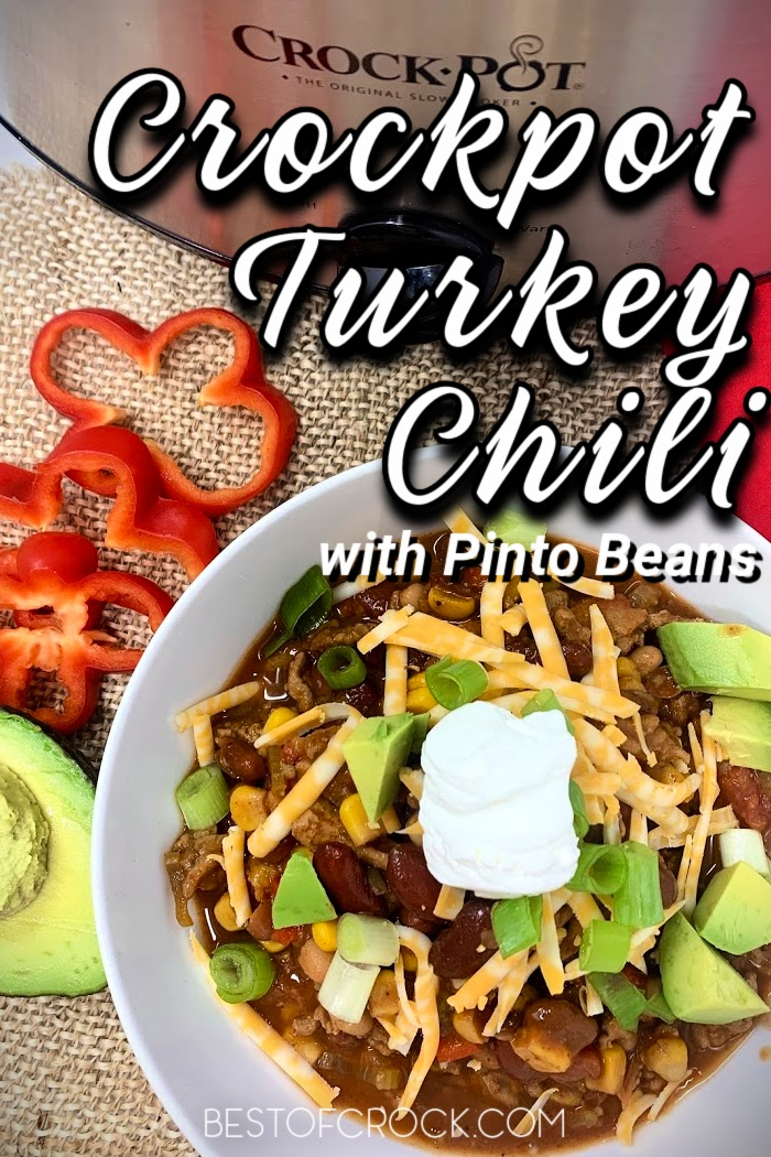 Crockpot turkey chili with pinto beans is an easy and healthy slow cooker dinner! Save time in the kitchen and add this crockpot dinner recipe to your meal planning. Healthy Crockpot Turkey Chili | Crockpot Recipes with Turkey | Ground Turkey Recipes Slow Cooker | Slow Cooker Chili Recipe | Crockpot Dinner Recipes #crockpot #chili via @bestofcrock