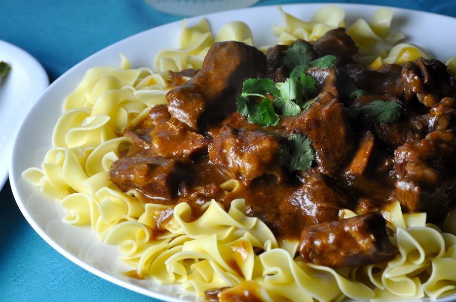 Budget Friendly Beef Stroganoff Close Up of Stroganoff on a Plate
