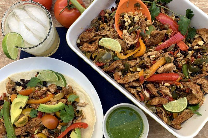 Chicken Fajitas Slow Cooker Recipes Overhead View of a Platter with Fajitas