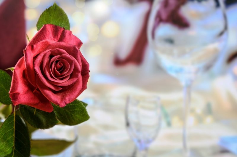 Crockpot Valentine's Day Recipes Table Set with a Rose