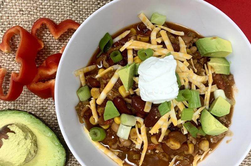 Crockpot Turkey Chili with Pinto Beans Bowl of Chili