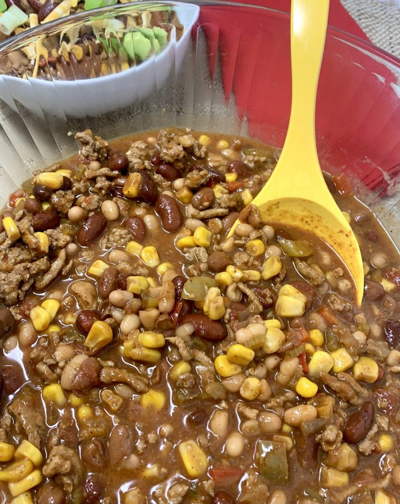 Crockpot Turkey Chili with Pinto Beans Big Serving Bowl Filled with Chili
