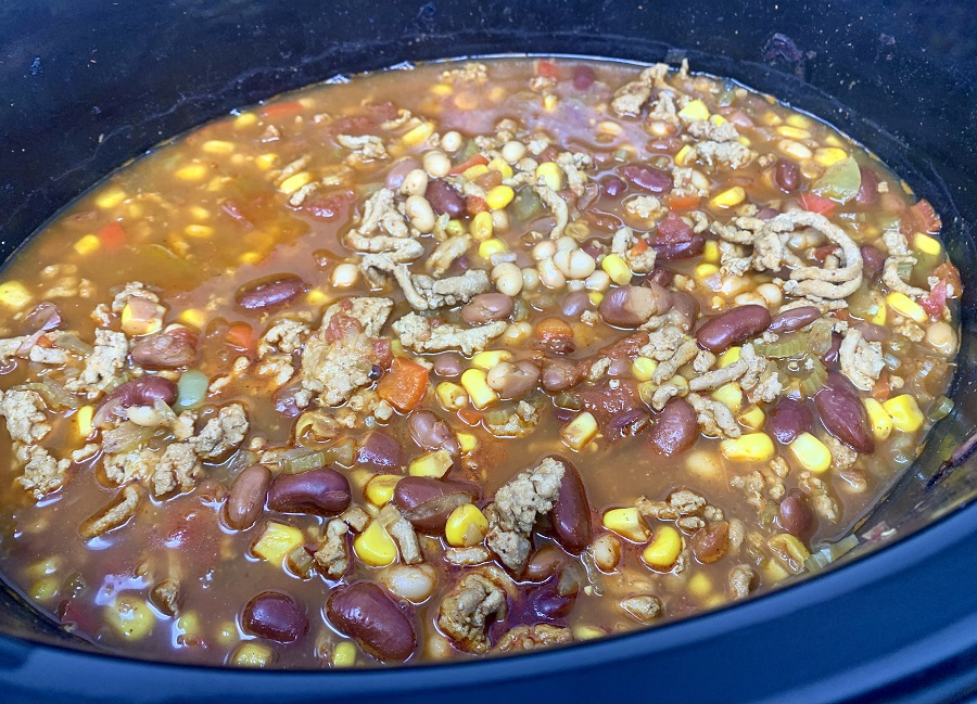 Crockpot Turkey Chili with Pinto Beans Chili Cooking in a Crockpot
