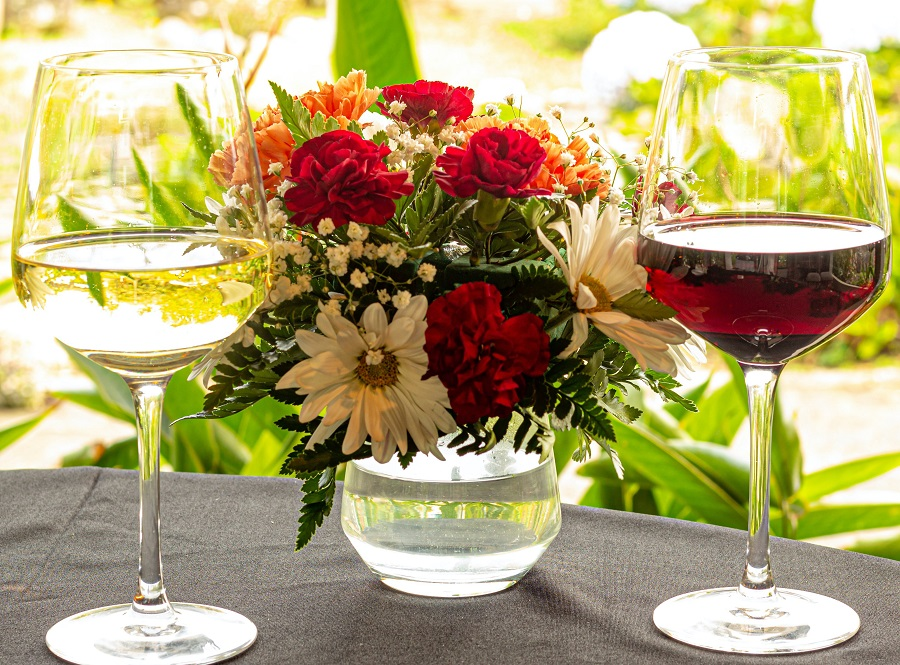 Instant Pot Valentine's Day Recipes Two Glasses of Wine with Flower Centerpieces