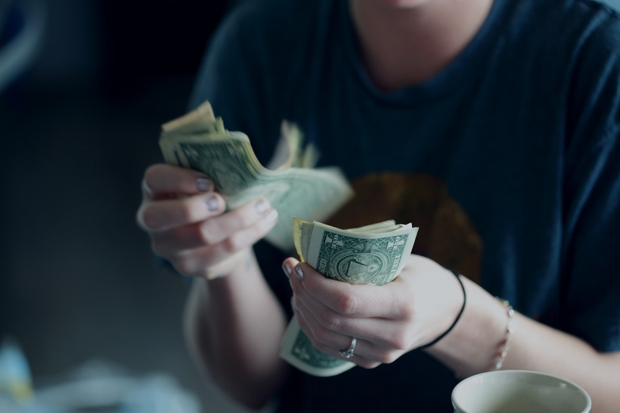 Budget Friendly Beef Stroganoff Woman Counting Money