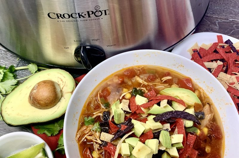 Slow Cooker Creamy Chicken Tortilla Soup Recipes Overhead View of a Bowl of Soup in Front of a Crockpot