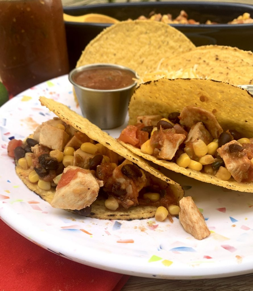 Slow Cooker Salsa Chicken for Tacos on a Plate