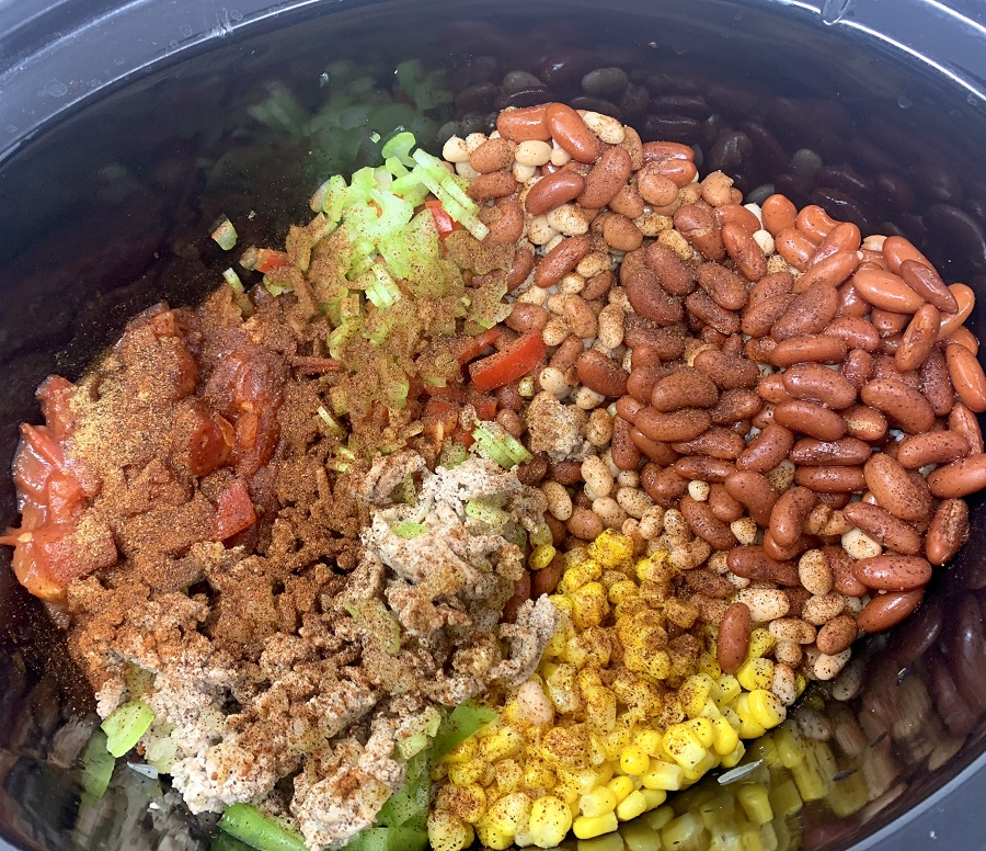 Crockpot Turkey Chili with Pinto Beans Raw Ingredients in a Crockpot
