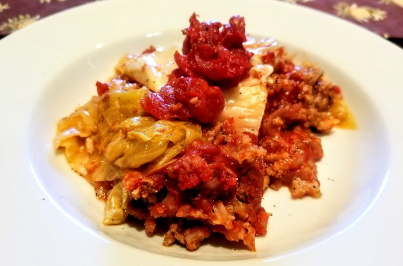 Crockpot Unstuffed Cabbage Rolls on a White Plate