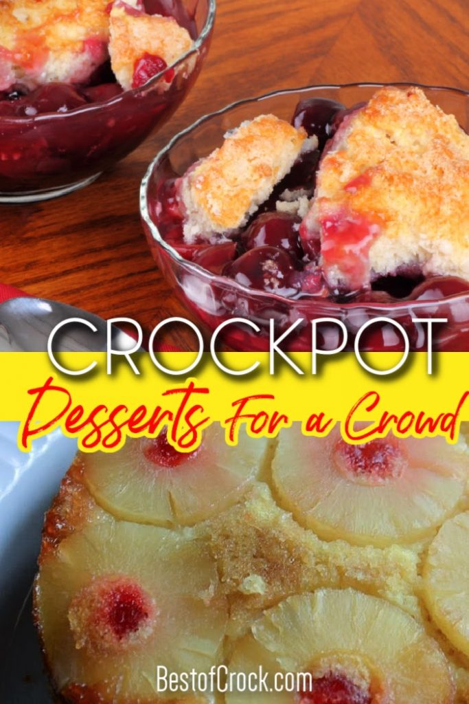 Crockpot desserts for a crowd make serving up party desserts or holiday desserts easier no matter how many people you serve or what the occasion. Crockpot Dessert Recipes | Crockpot Party Recipes | Dinner Party Ideas | Crockpot Cake Recipes Cake Mix | Crockpot Dessert Recipes 3 Ingredients | Easy Party Dessert Recipes #desserts #crockpot