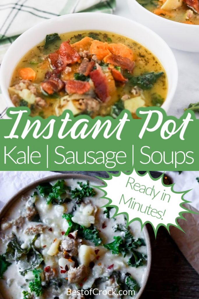 Try these delicious Instant Pot kale soup with sausage recipes for a quick and easy meal planning recipe.  Pressure Cooker Kale Soup Recipes   Instant Pot Sausage   Instant Pot Kale Recipes   Instant Pot Dinner Recipes   Instant Pot Soup Recipes #instantpot #souprecipes