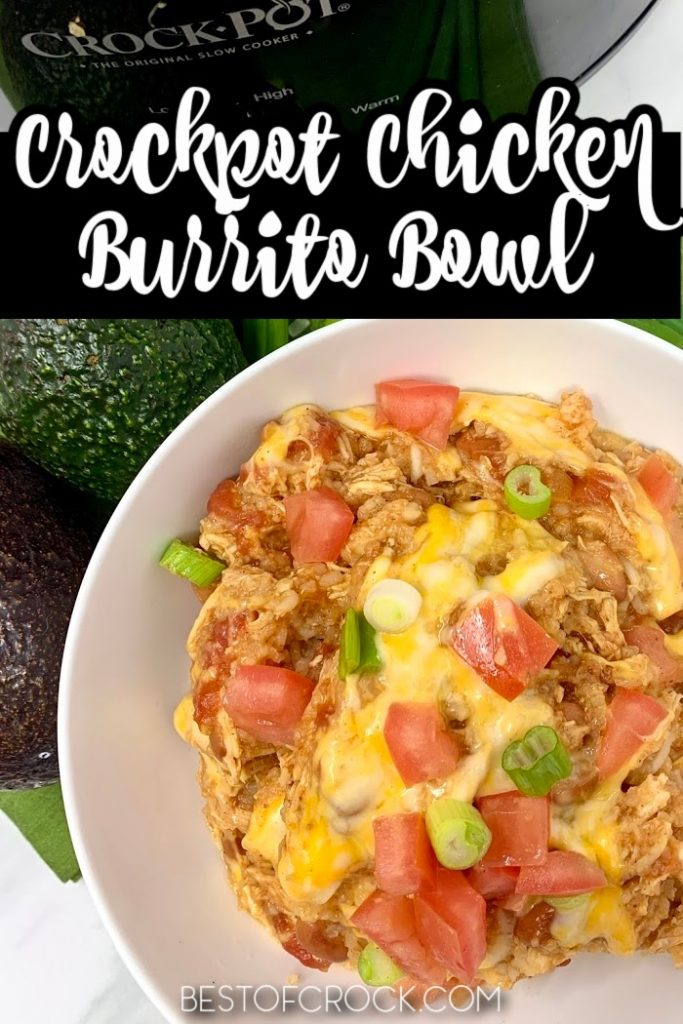 This easy crockpot chicken and rice burrito bowl recipe is a delicious dinner recipe that the entire family will enjoy. Crockpot Chicken Recipes | Crockpot Burritos | Slow Cooker Dinner Recipes | Delicious Dinner Recipes | Crockpot Meal Planning | Crockpot Recipes with Chicken | Slow Cooker Chicken Bowl | Burrito Bowls Slow Cooker | Chicken and Rice Crockpot | Slow Cooker Mexican Chicken #chicken #crockpotrecipes