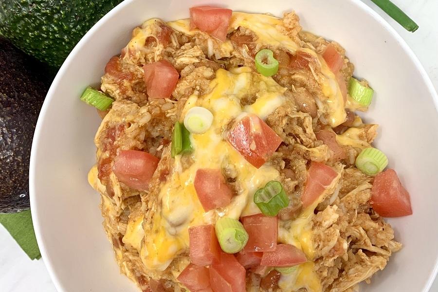 Crockpot Chicken and Rice Burrito Bowl Recipe Close Up of a Burrito Bowl