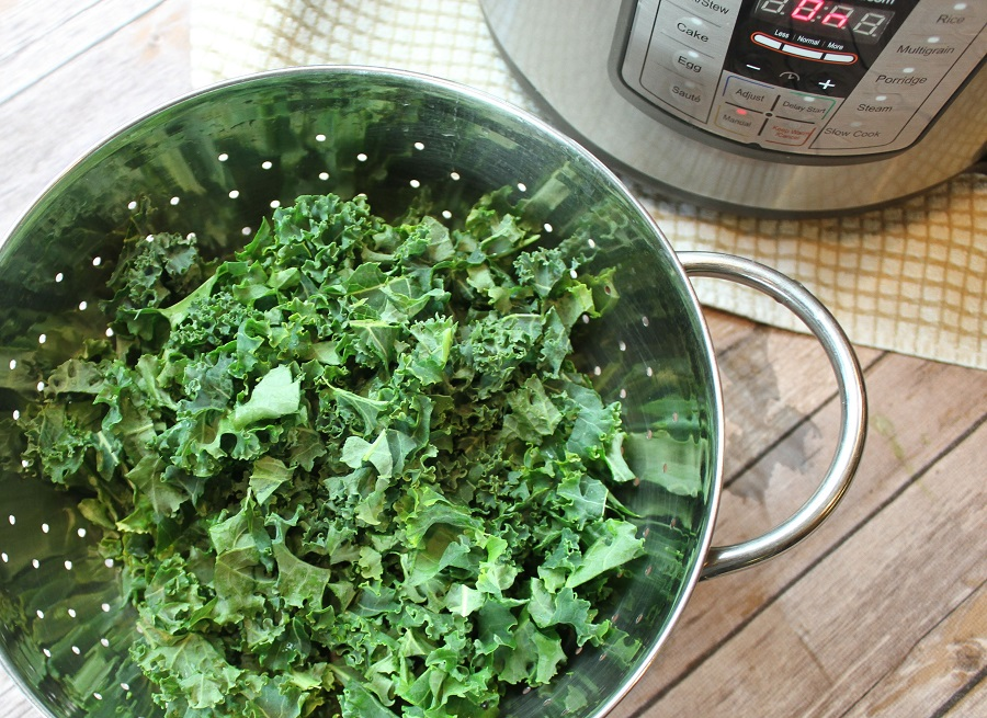 Instant Pot Kale Soup with Sausage Recipes Kale in a Collinder Next to an Instant Pot