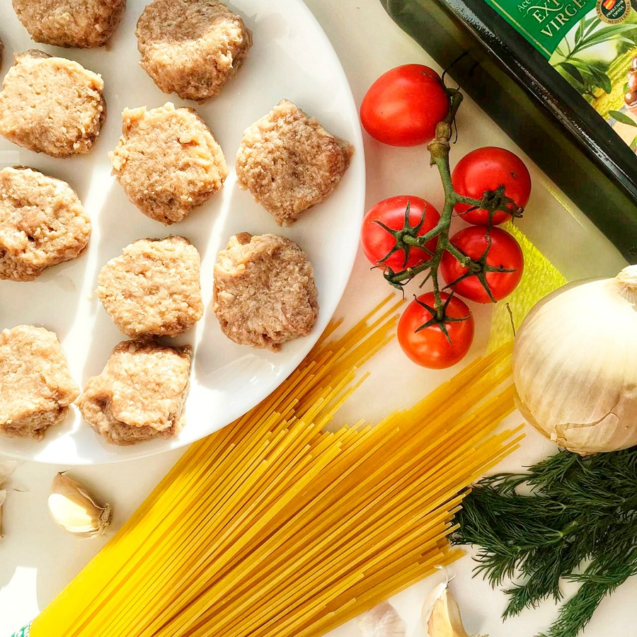 Instant Pot Meatballs and Pasta Recipes Pasta and Meatballs Ingredients Spread Out on a Counter