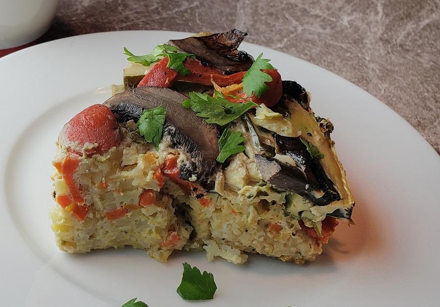 Slow Cooker Breakfast Casserole Recipes Side View of a Slice of Breakfast Casserole