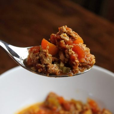 Beanless Instant Pot Chili Recipes Close Up of a Spoonful of Chili