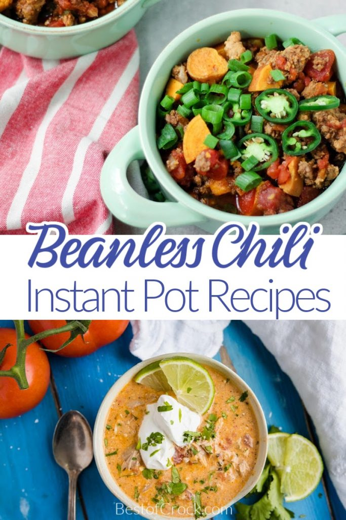 The best beanless Instant Pot chili recipes can help you earn the blue ribbon chili award from family and friends!  These chili recipes are so easy to make, too! Beanless White Chicken Chili | Beanless Turkey Chili | Instant Pot Turkey Chili | Instant Pot Chili with Beef | Chunky Chili Recipes | Low Carb Chili Recipes #instantpotchili #chilirecipes
