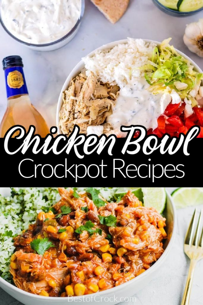 Crockpot chicken bowl recipes are easy to make even when you need a quick dinner recipe. They are a delicious party recipe, too! Chicken Burrito Bowl Crockpot | Chicken Taco Bowls | Crockpot Chicken and Rice Bowl | Slow Cooker Chicken Bowls | Healthy Crockpot Chicken Recipes | Slow Cooker Recipes Chicken | Easy Dinner Recipes | Crockpot Meal Planning #crockpotrecipes #dinnerrecipes