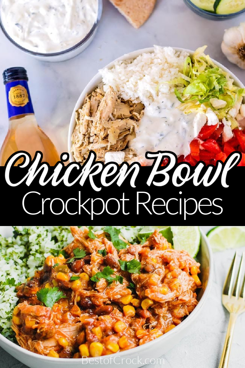 Crockpot chicken bowl recipes are easy to make even when you need a quick dinner recipe. They are a delicious party recipe, too! Chicken Burrito Bowl Crockpot | Chicken Taco Bowls | Crockpot Chicken and Rice Bowl | Slow Cooker Chicken Bowls | Healthy Crockpot Chicken Recipes | Slow Cooker Recipes Chicken | Easy Dinner Recipes | Crockpot Meal Planning #crockpotrecipes #dinnerrecipes via @bestofcrock
