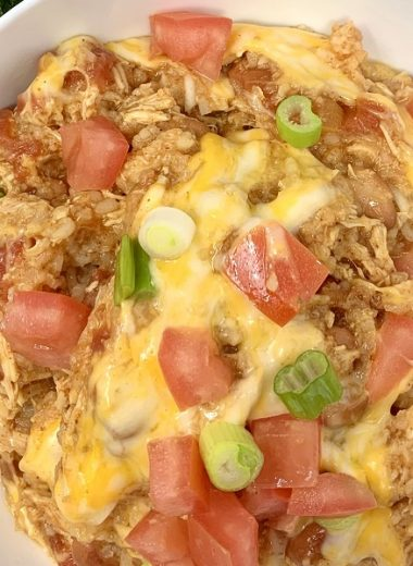 Crockpot Chicken Bowl Recipes Overhead View of a Chicken Bowl with Cheese