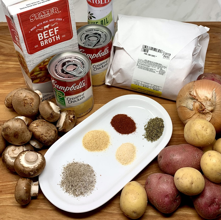 Crockpot Pork Chops with Cream of Mushroom Soup Recipe Ingredients Gathered Together