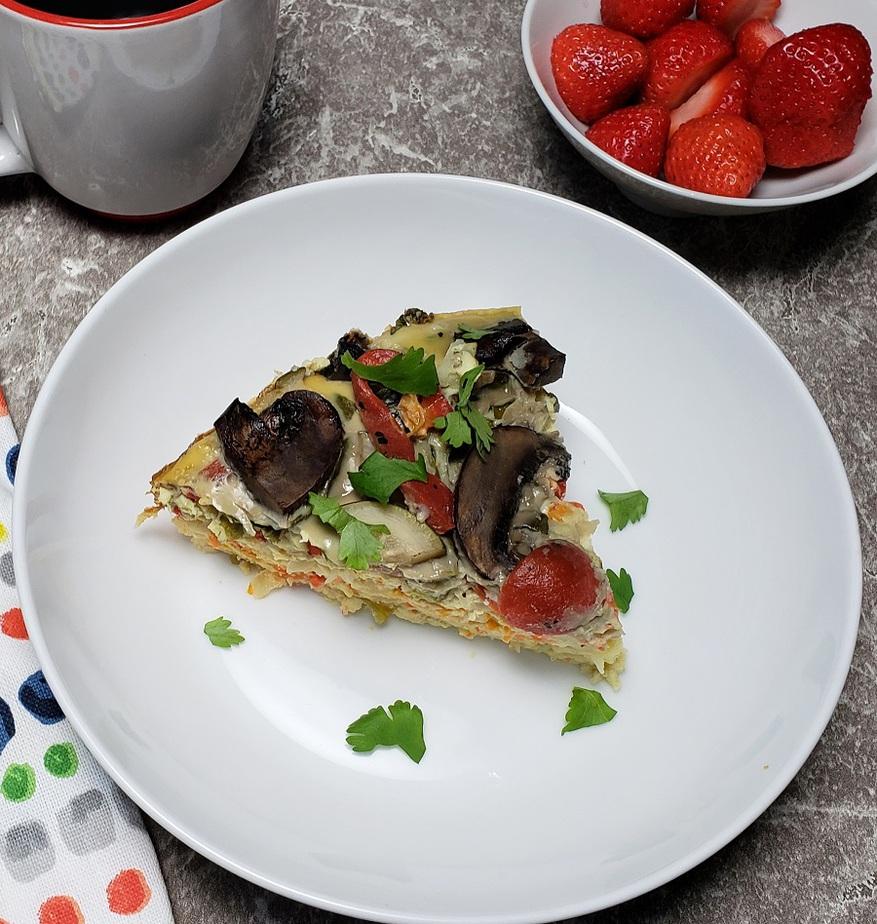 Crockpot Breakfast Recipes Overhead View of a Breakfast Casserole on a Plate