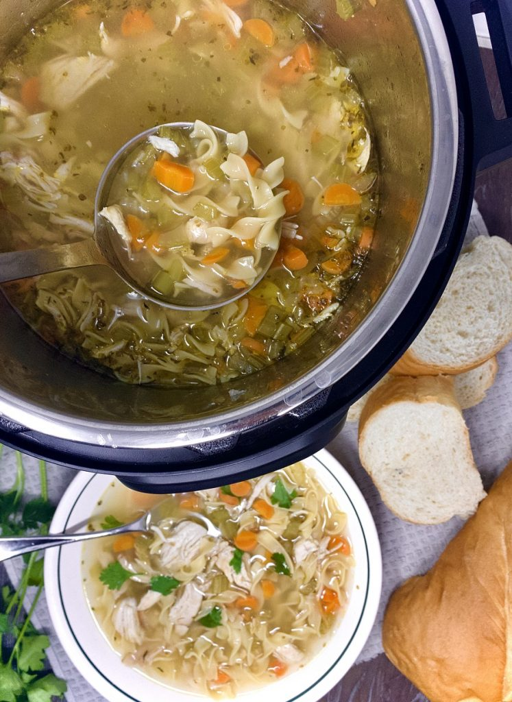 Instant Pot Soup Recipes with Chicken Overhead View of Soup Cooking in an Instant Pot