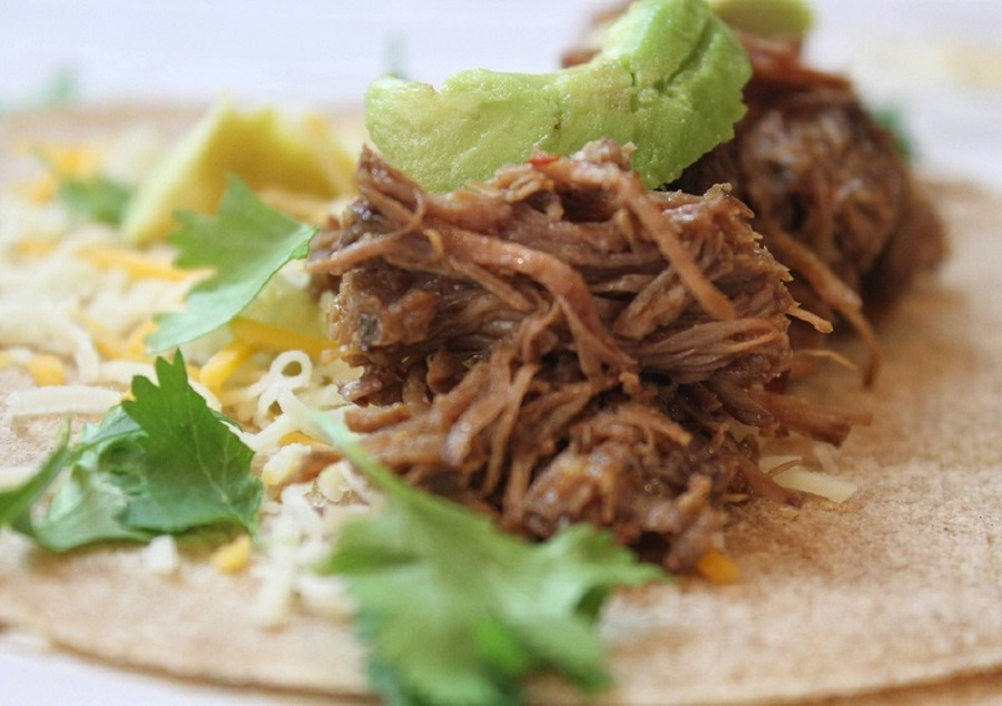 Slow Cooker Beef Barbacoa Recipes Close Up of Barbacoa Beef on a Taco