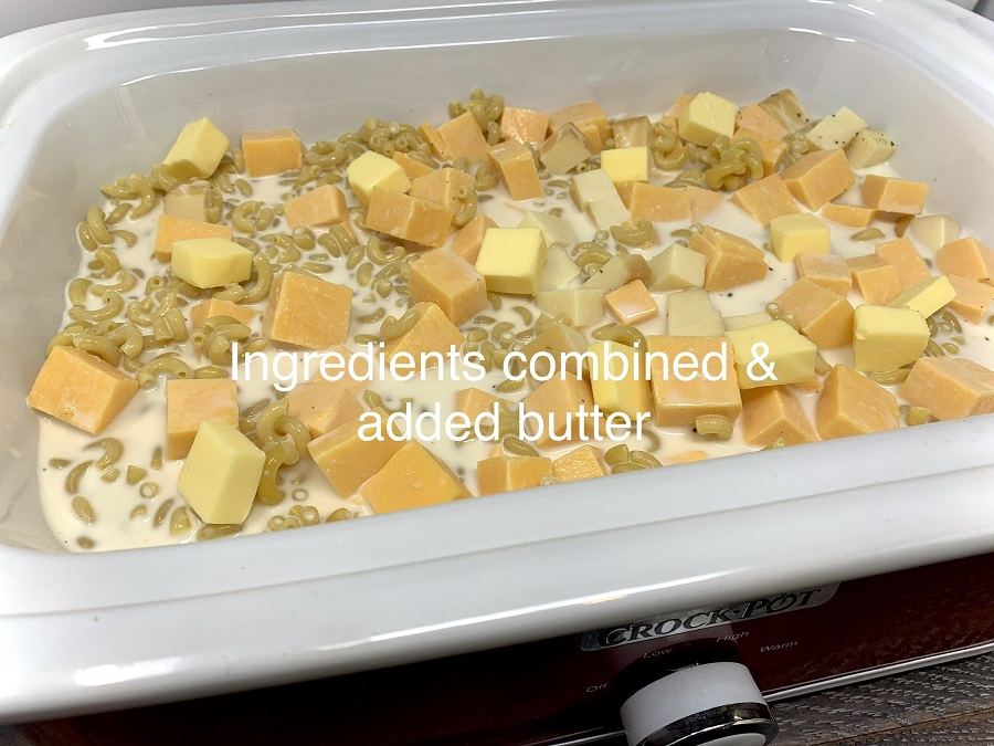 Budget Friendly Slow Cooker Macaroni and Cheese Ingredients in a Crockpot