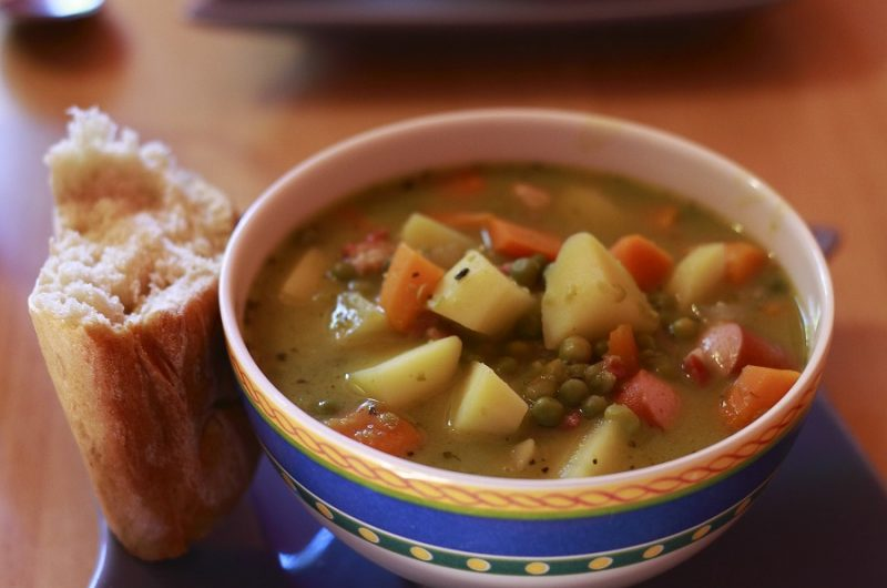 Instant Pot Hamburger Soup Recipes Close Up of a Bowl of Soup with Potatoes and Other Veggies