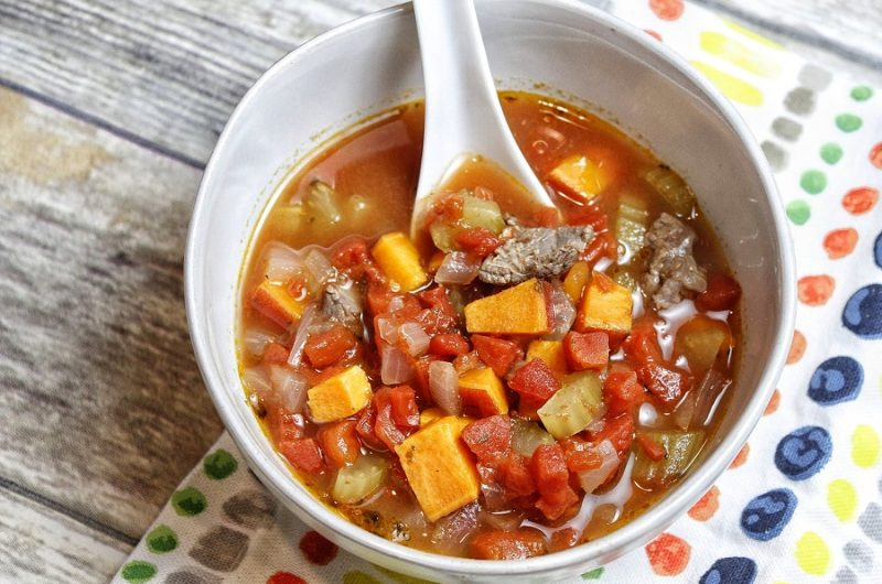 Beginner Instant Pot Recipes with Beef Overhead View of a Bowl of Soup