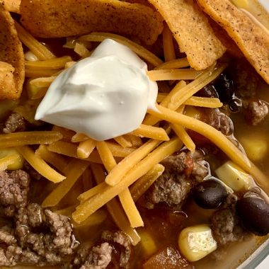 Close Up of Crockpot Taco Soup Recipe with Beans