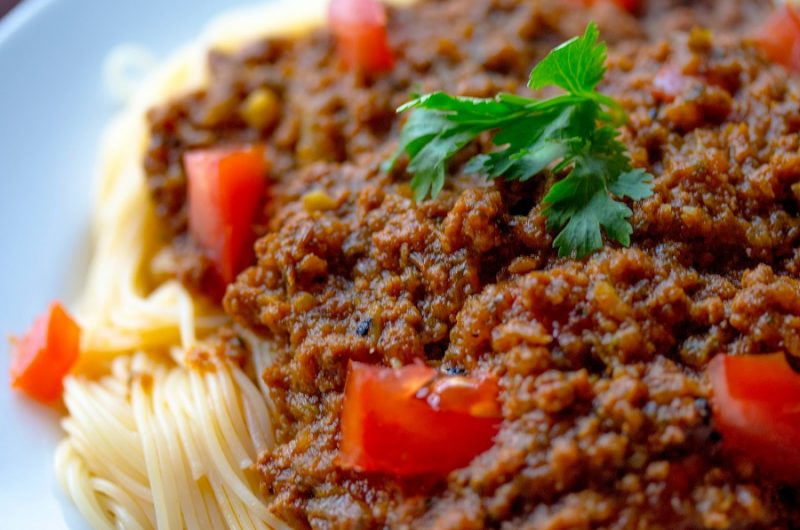 Healthy Crockpot Freezer Meals with Beef Close Up of Beef Ragu on Pasta