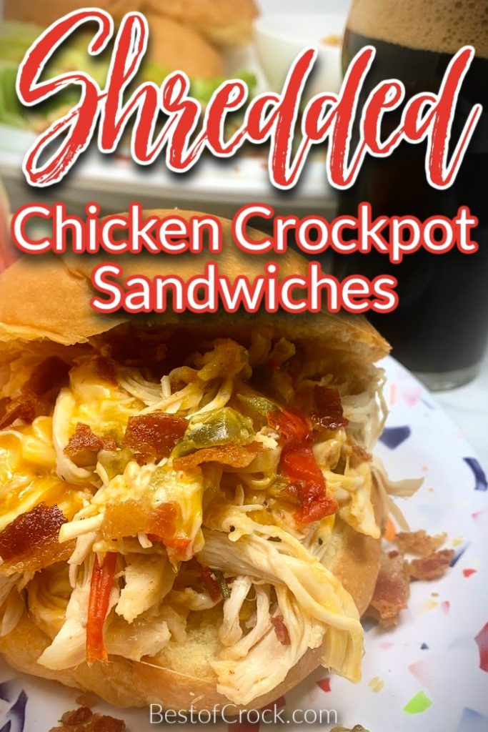 These crockpot shredded chicken sandwiches are easy and perfect for a quick lunch or dinner. You can also use the chicken as a salad topper making it a healthy crockpot recipe as well. Crockpot Shredded Chicken Recipes Easy | Slow Cooker Chicken Recipes | Dinner Recipes with Chicken | Crockpot Sandwiches with Chicken | Chicken and Bacon Recipe | Crockpot Dinner Recipes with Chicken | Slow Sandwich Recipes | Chicken Recipes for Lunch #dinnerrecipe #crockpotrecipes